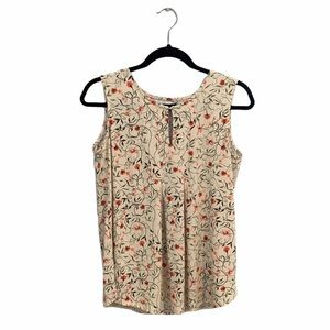Alfred Sung Cream Floral Blouse with Orange Flower
